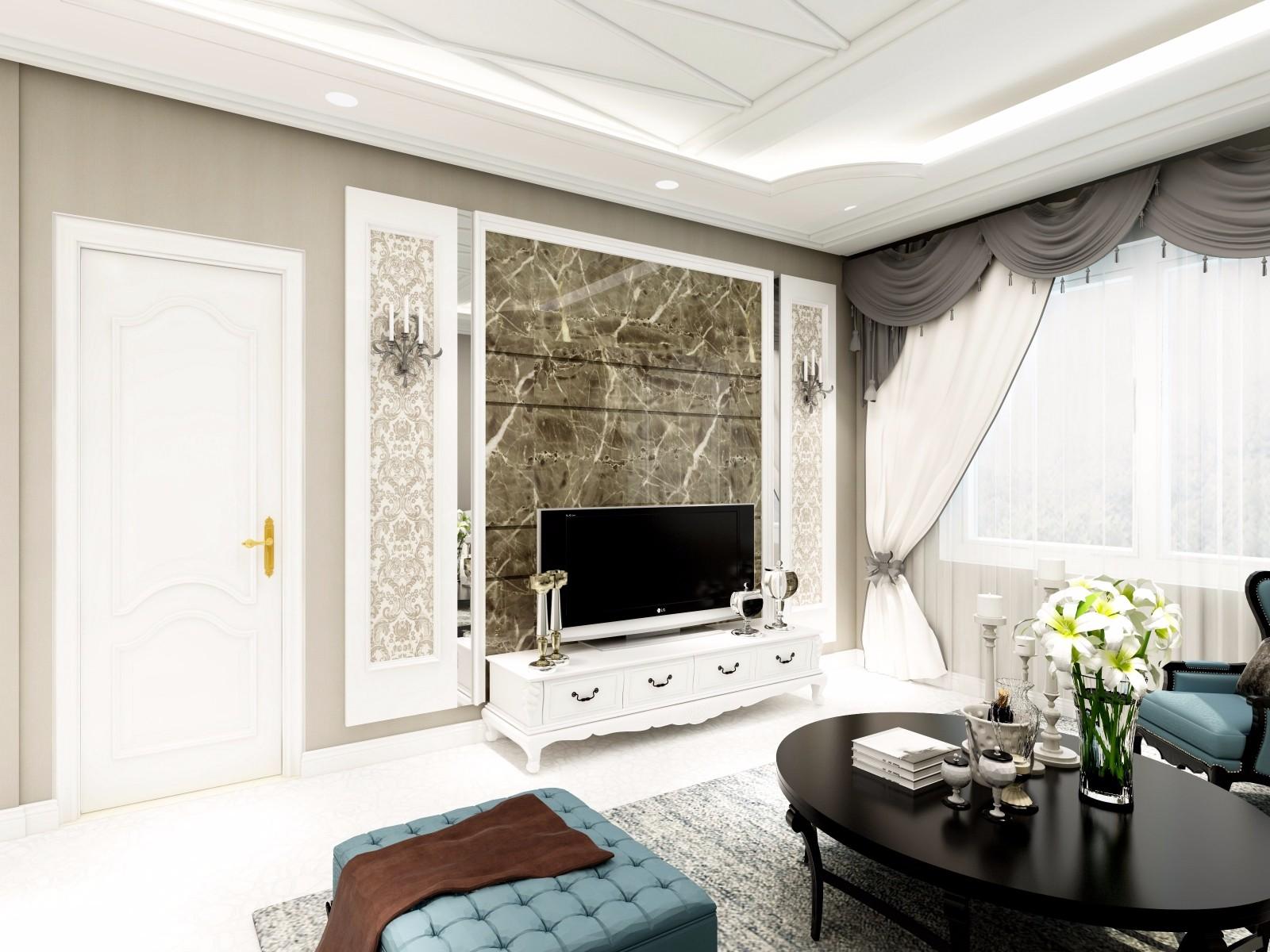 欧式风格三居电视背景墙装修效果图