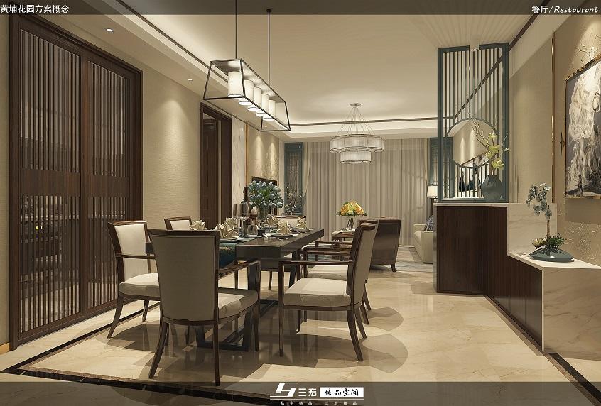 黄埔花园餐厅新中式装修设计