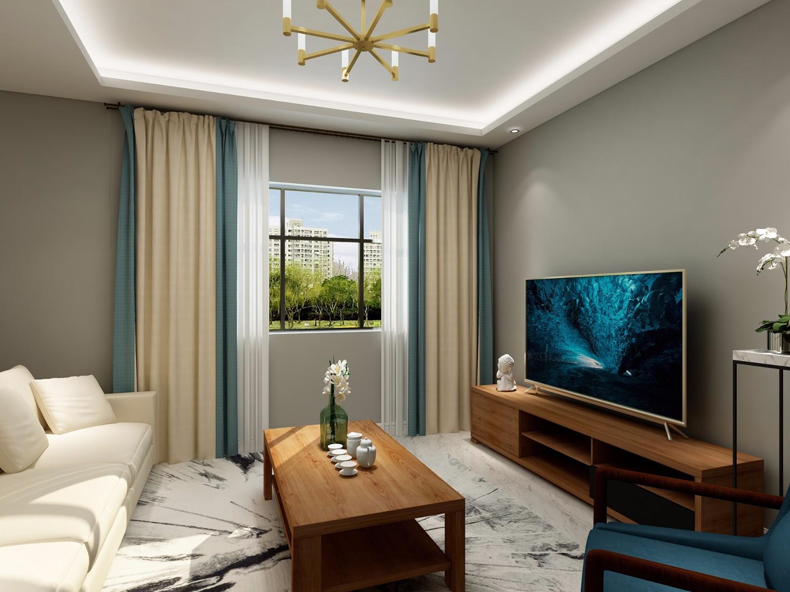 简约中式风格客厅装修效果图