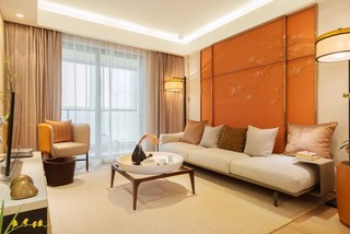 现代简约风二居沙发背景墙装修效果图