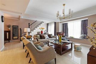 150㎡复式美式风格客厅装修效果图