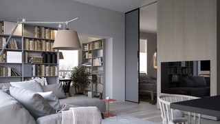 灰色调二居室公寓客厅装修效果图