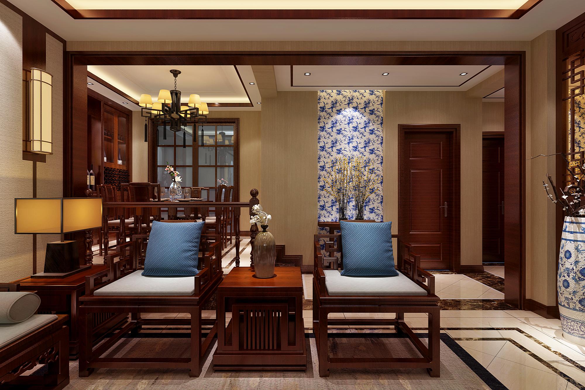 新中式风格边桌椅设计效果图