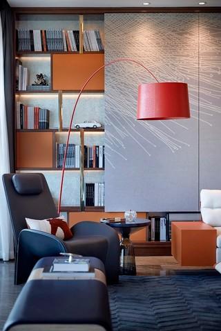 后现代奢华样板房装修红色钓鱼灯设计