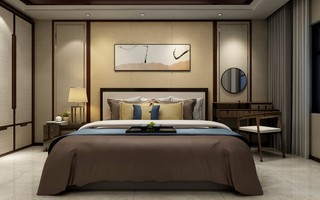 新中式风格卧室背景墙装修设计效果图