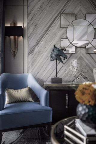 现代奢华样板间装修蓝色沙发椅设计