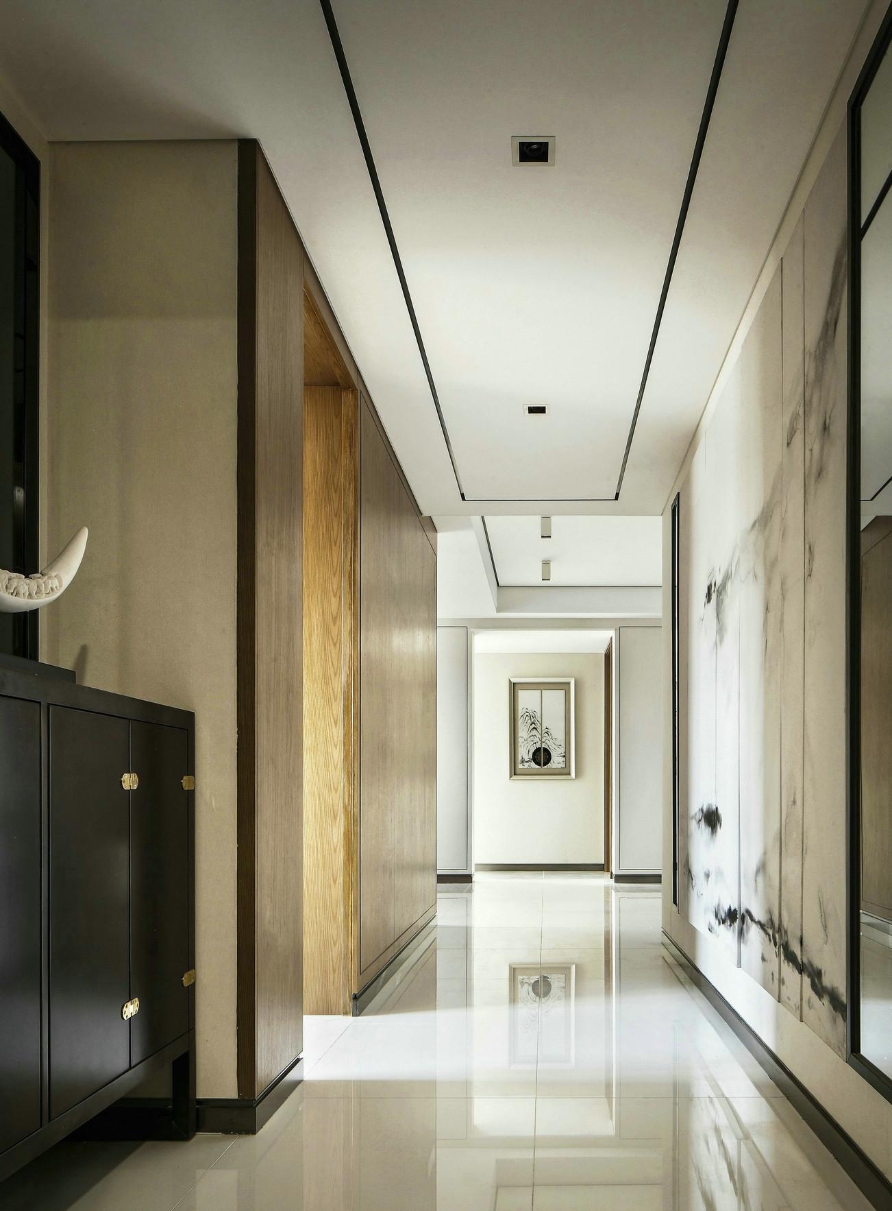三居室新中式风格玄关过道装修效果图