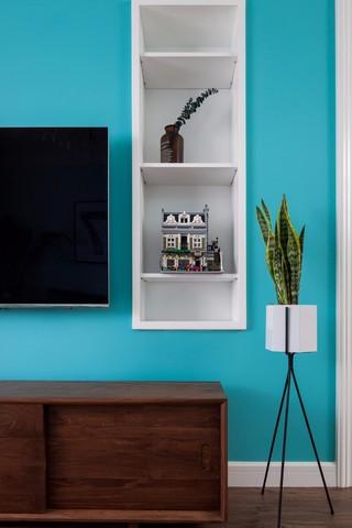 蓝色北欧风格装修电视墙局部特写