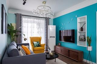 蓝色北欧风格电视背景墙装修效果图