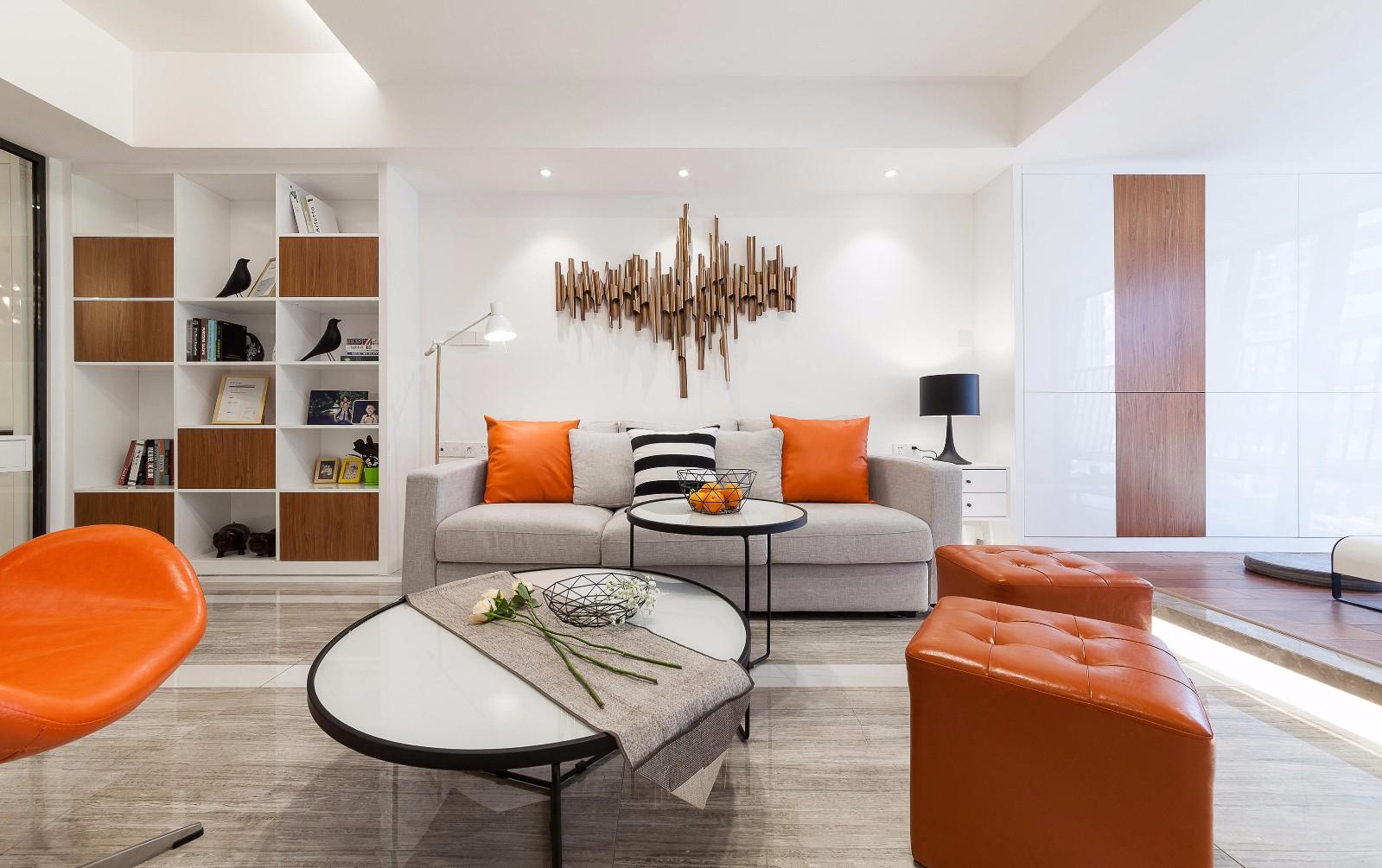 105平现代简约沙发背景墙装修效果图