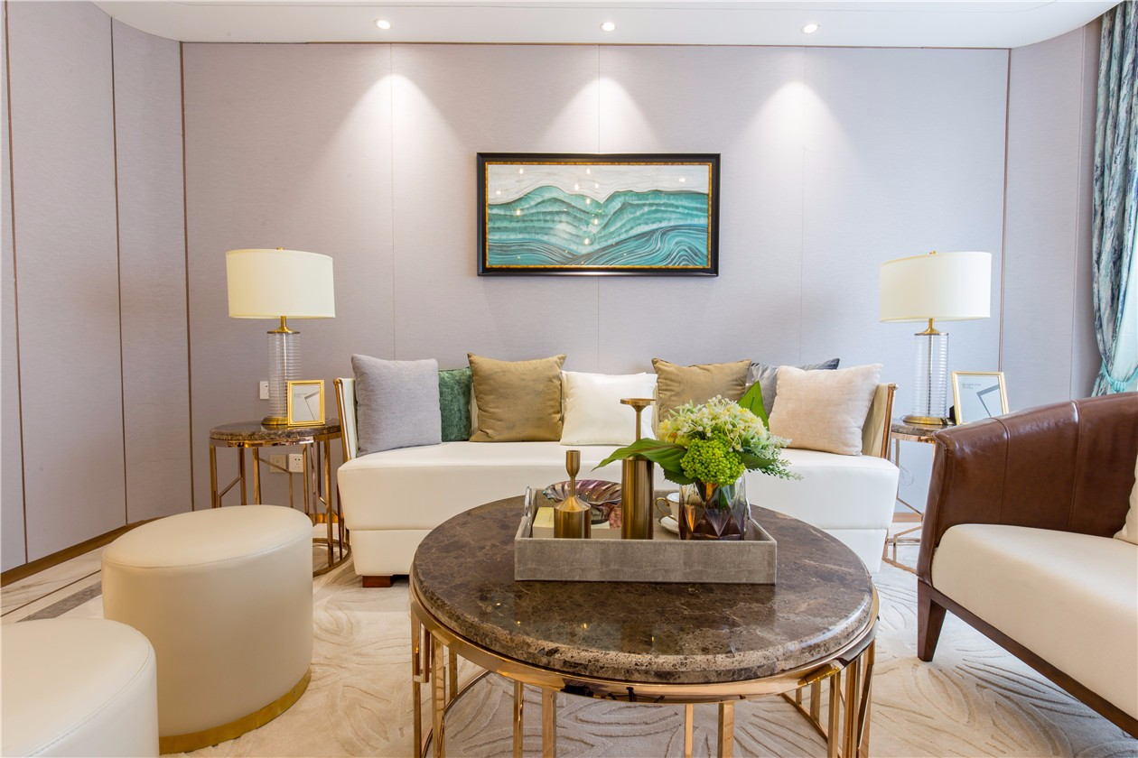 轻奢现代样板间沙发背景墙装修效果图