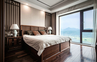 新中式风格别墅卧室装修效果图