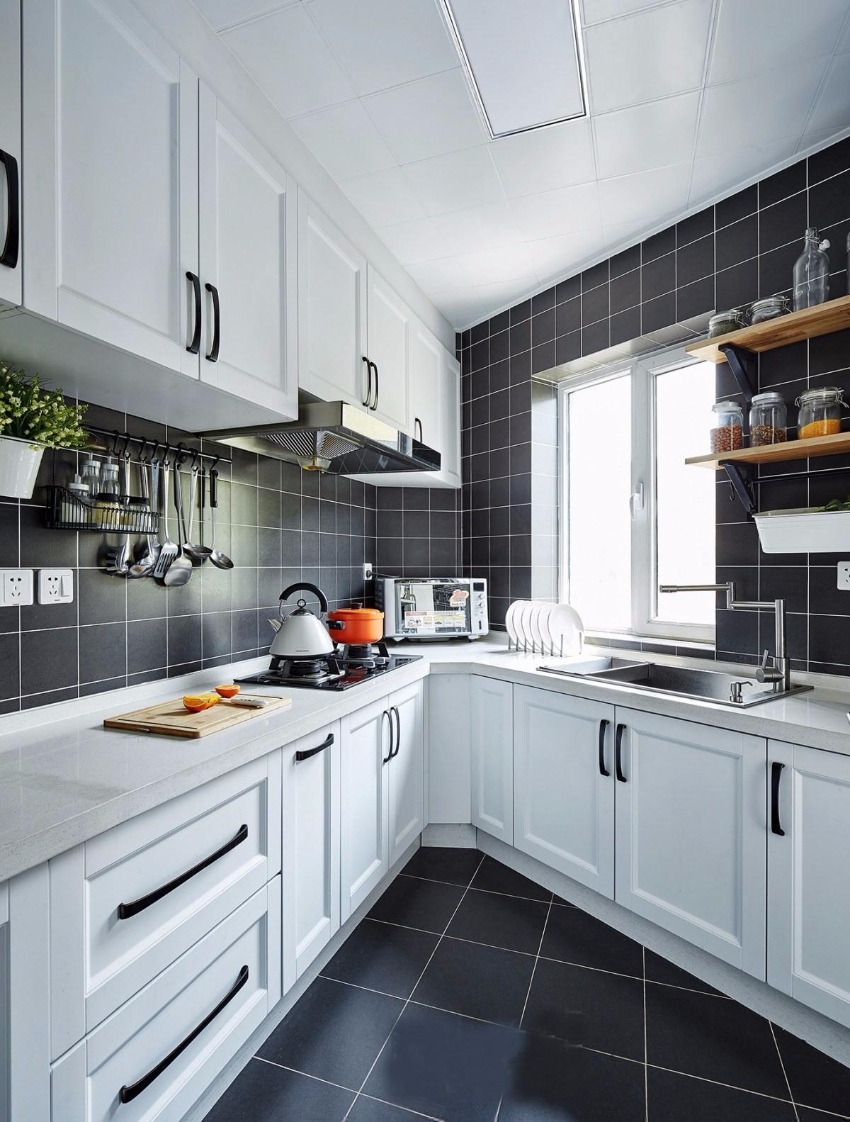 宜家北欧风格黑白厨房装修效果图