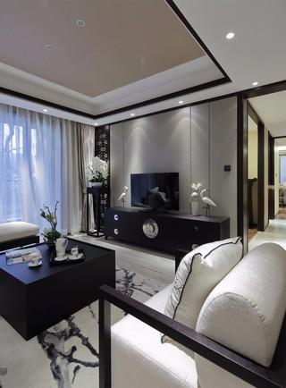 三居室新中式风格电视背景墙装修效果图