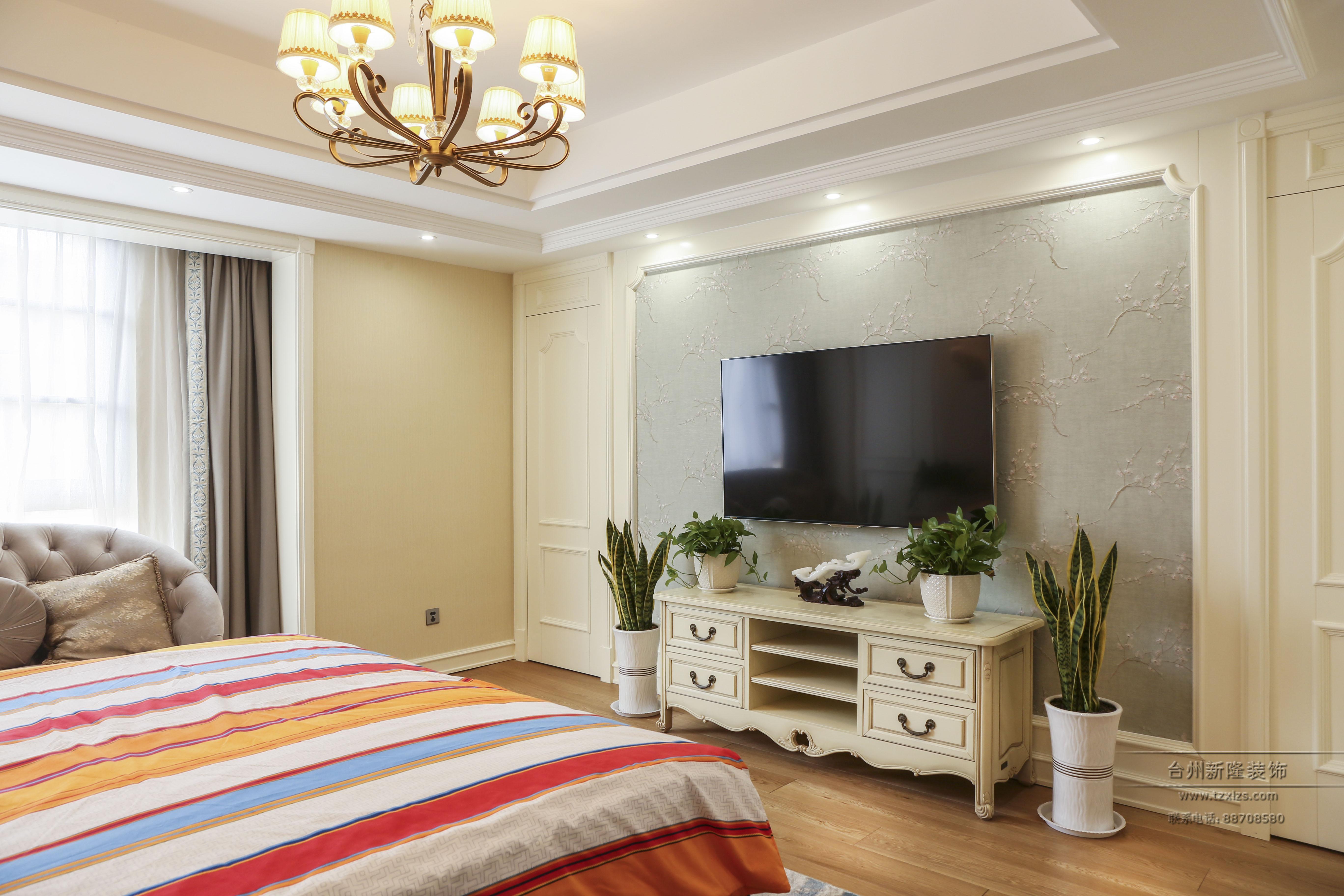 欧式风格别墅卧室电视墙装修效果图