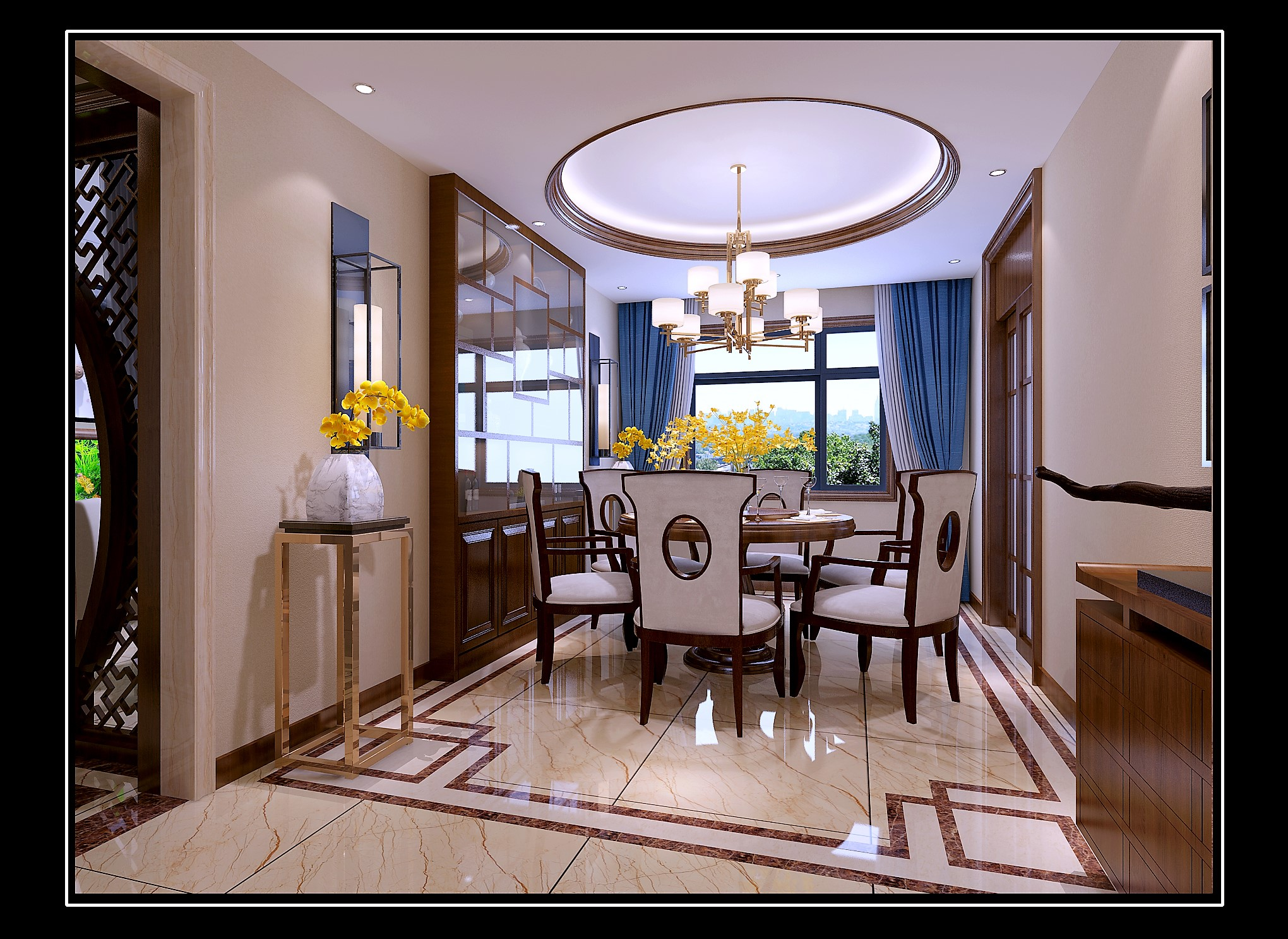 175平新中式风格餐厅装修效果图