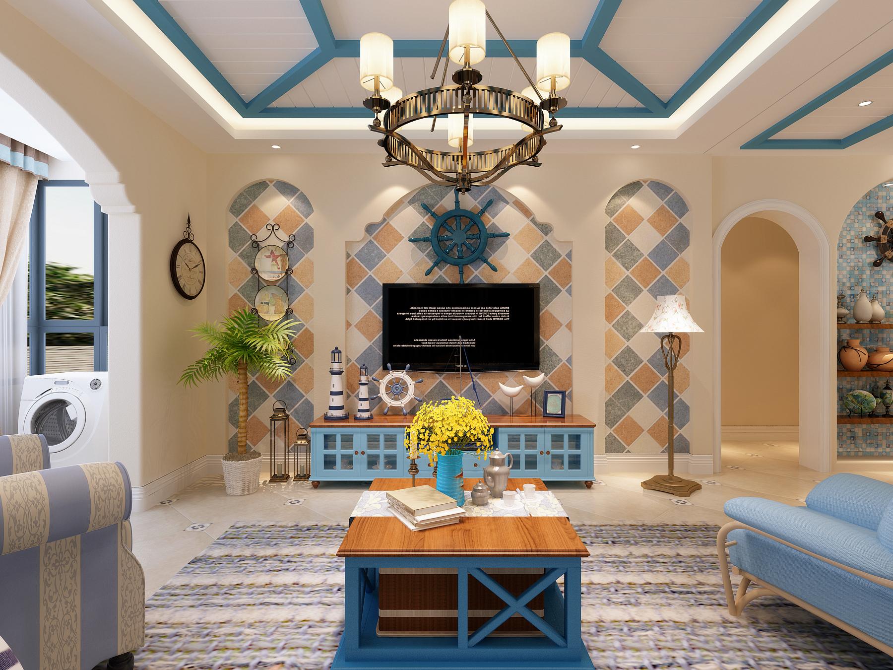 客厅地中海风格电视背景墙装修效果图