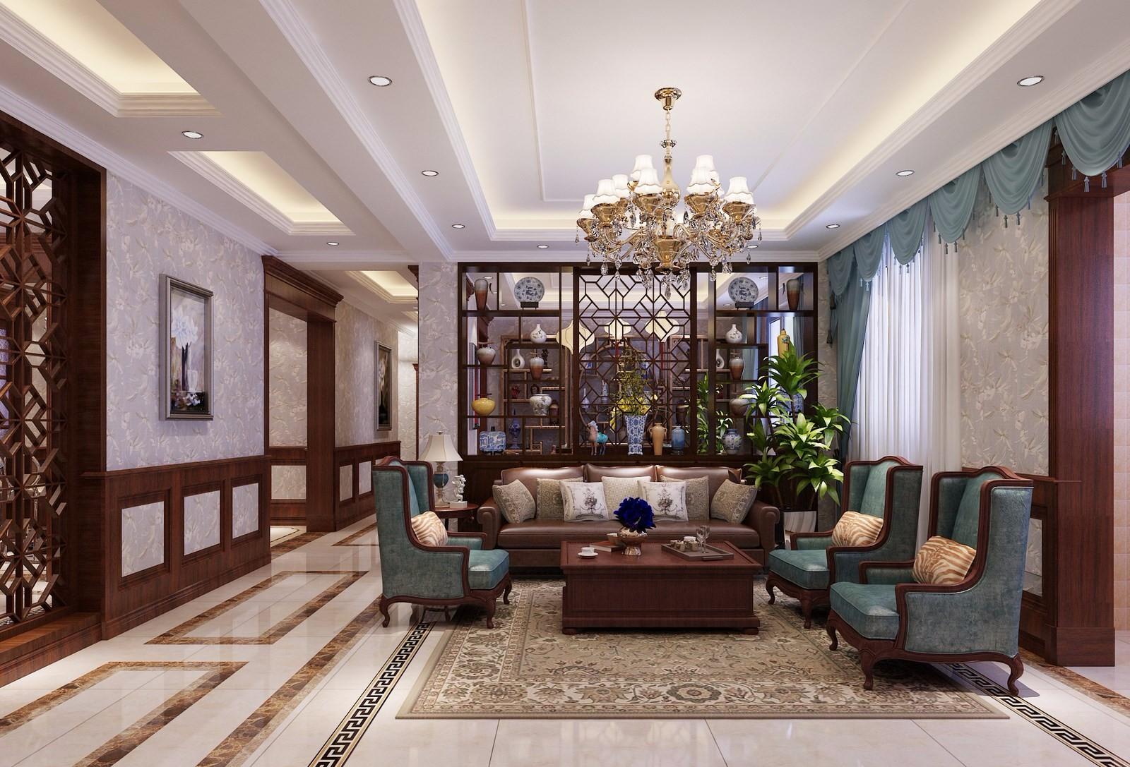 135平美式风格客厅装修效果图