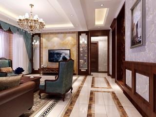 135平美式风格客厅过道装修效果图