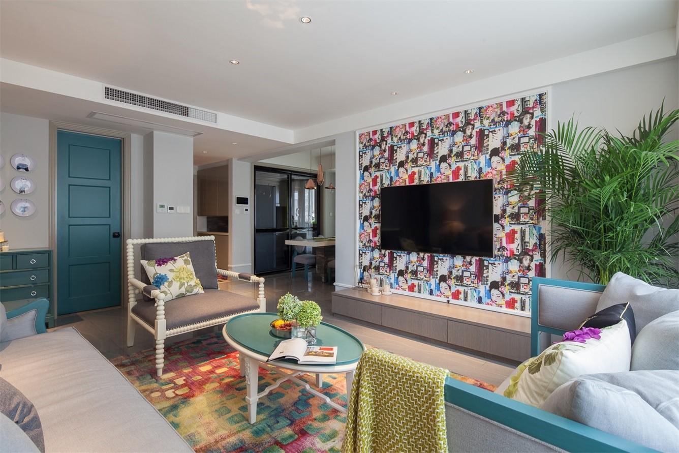 三居室混搭风格电视背景墙装修效果图