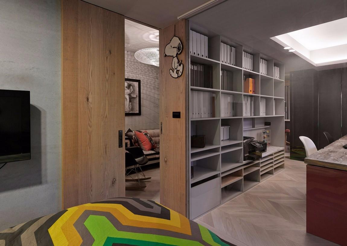 混搭风格公寓书架装修效果图