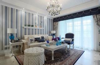 地中海风格三居沙发背景墙装修效果图