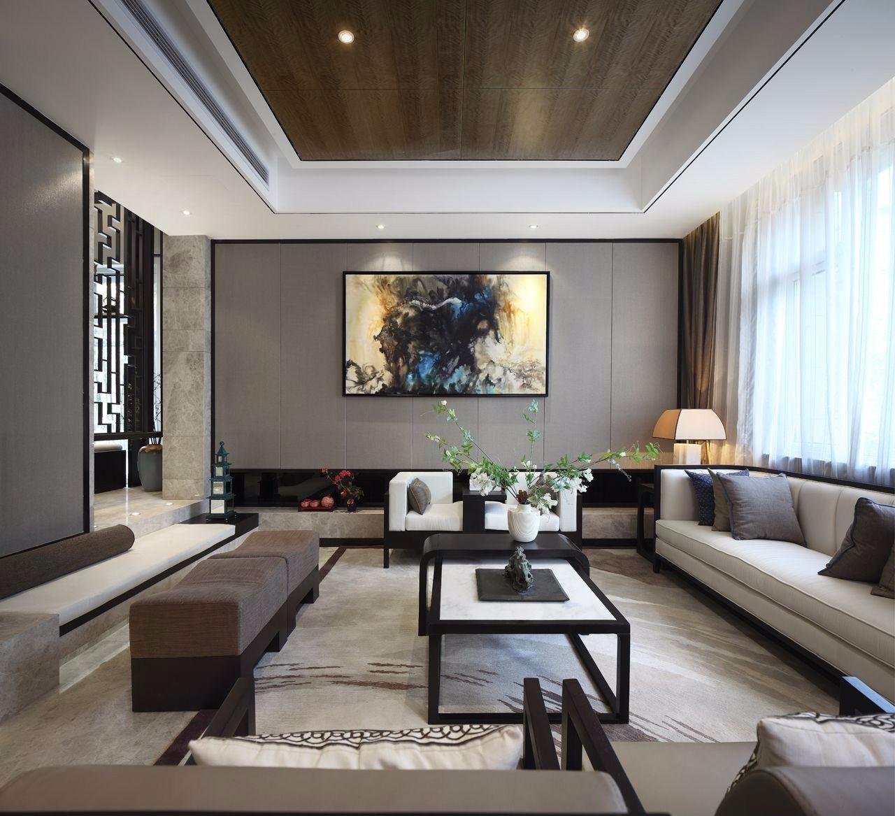 新中式别墅客厅装修设计图