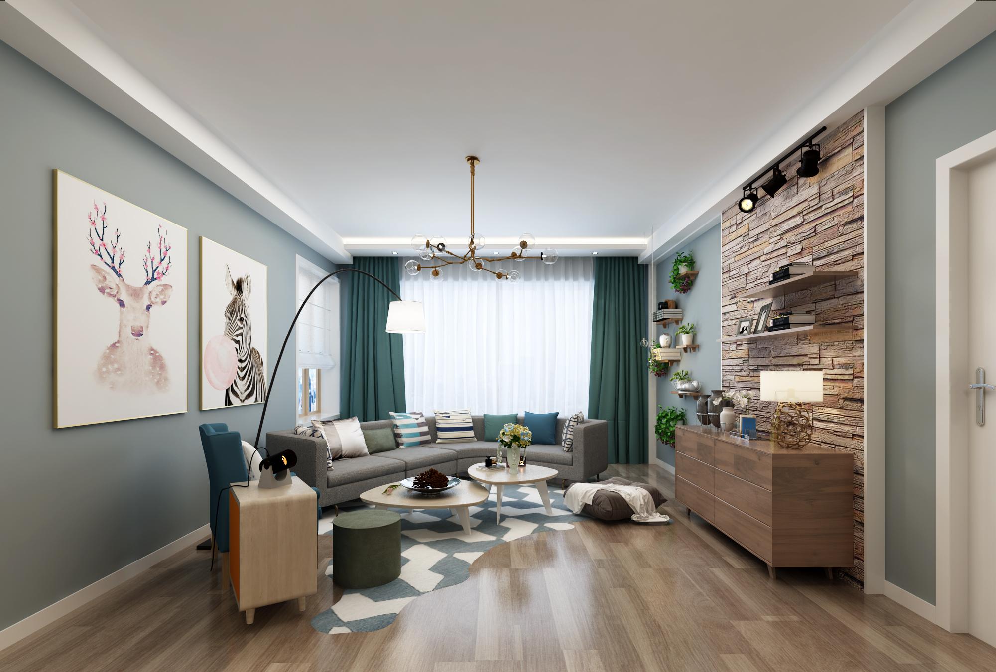 二居室北欧风格客厅装修效果图