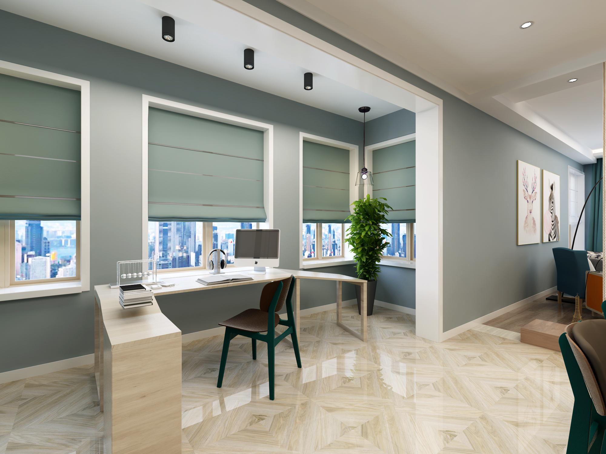 二居室北欧风格阳台工作区装修效果图