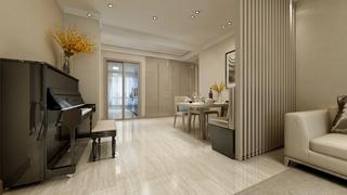 三居室现代简约风格客餐厅隔断装修效果图