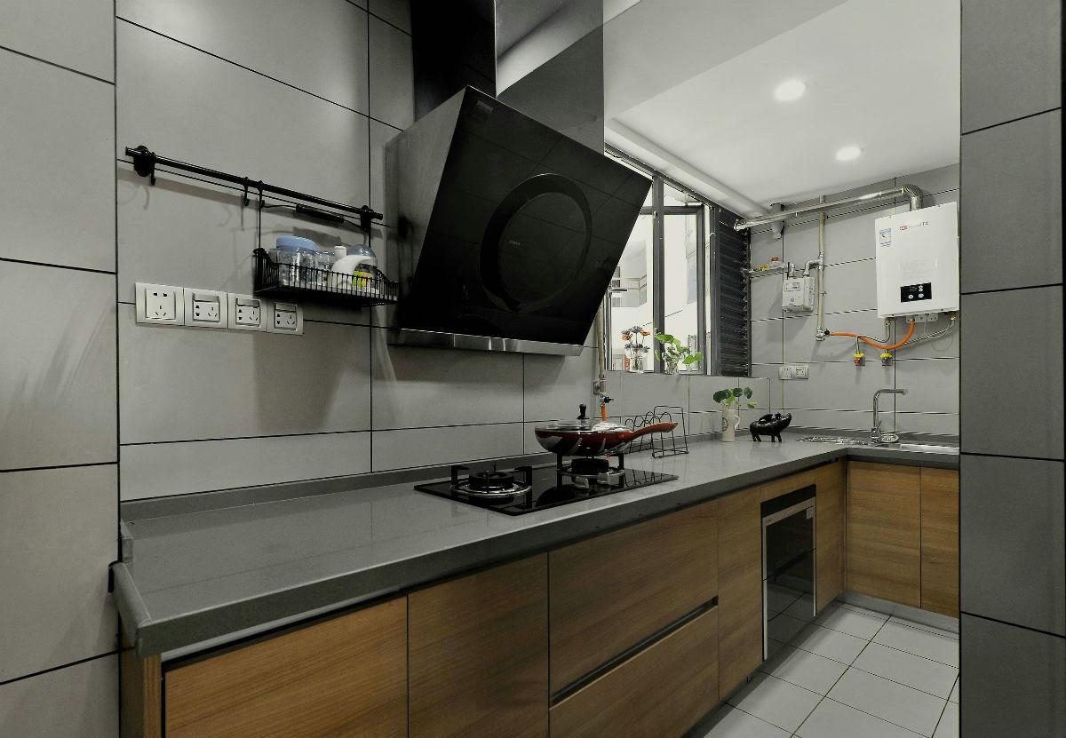 黑白灰现代风格厨房装修效果图