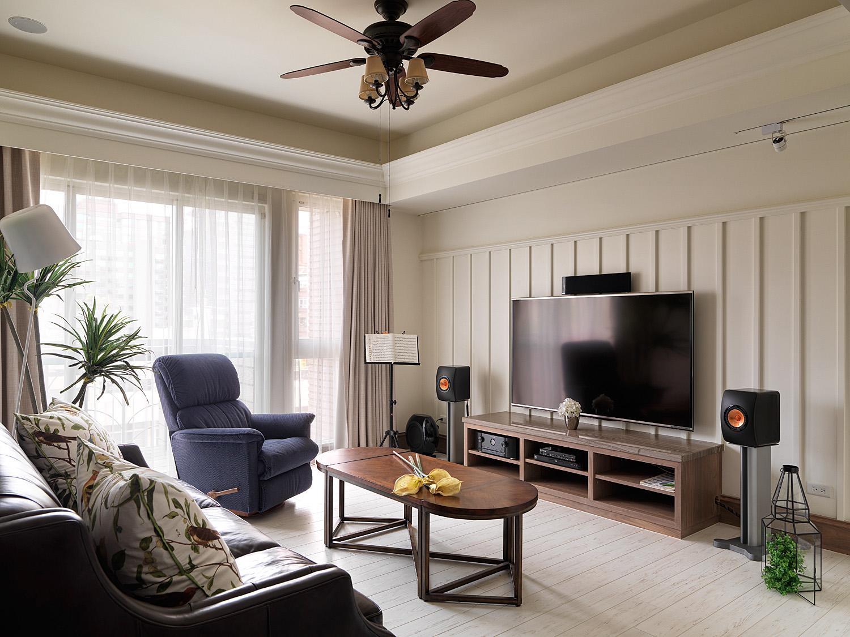 现代美式混搭电视背景墙装修效果图