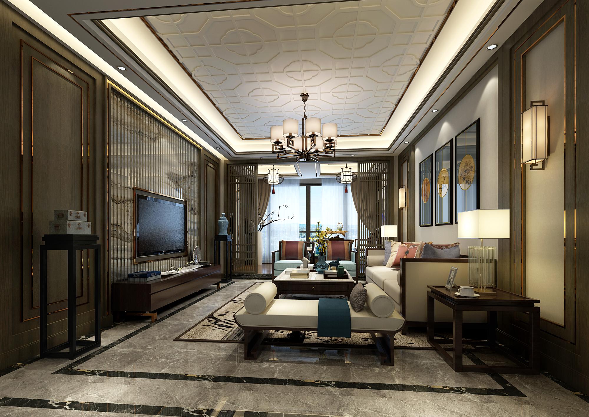 新中式风格四房客厅装修效果图