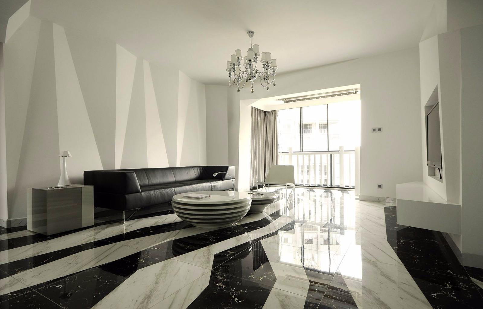 黑白简约现代风格客厅装修效果图