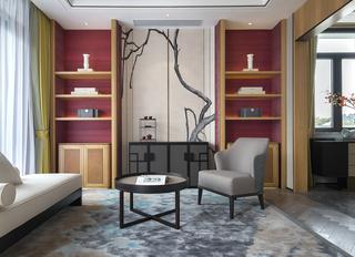 新中式别墅样板房休闲室装修效果图