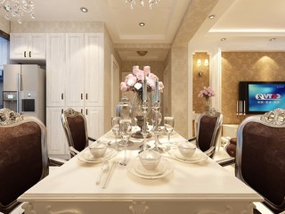 110平米欧式风格装修餐桌设计图