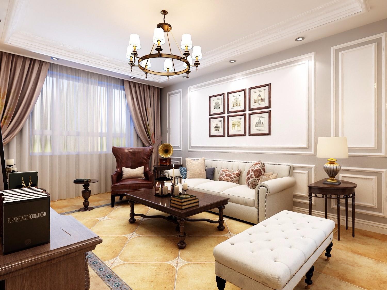 120平米美式风格沙发背景墙装修效果图