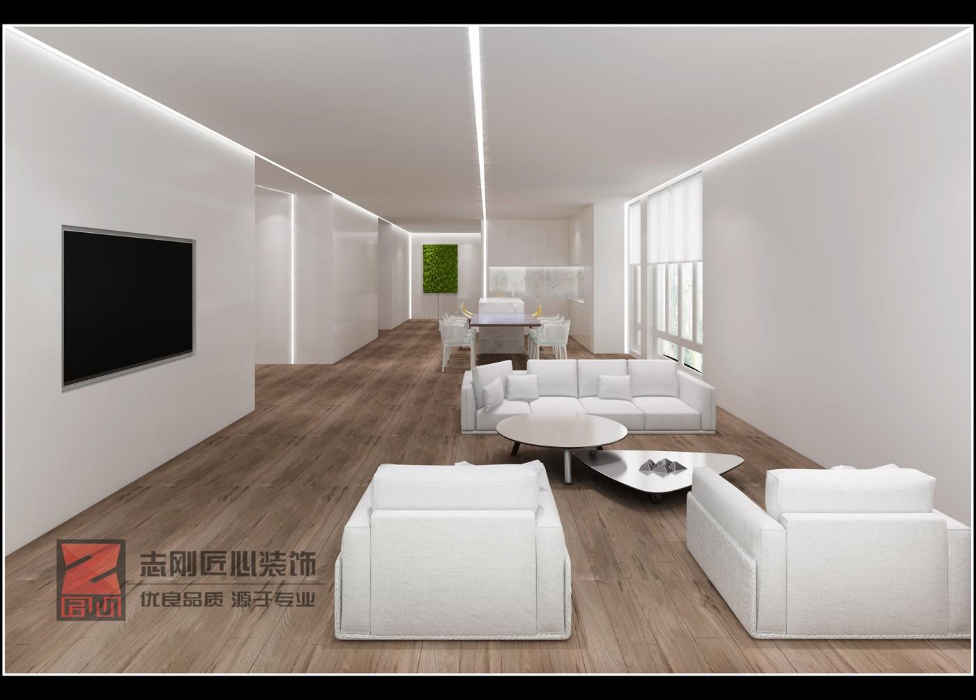 极简别墅客厅装修效果图