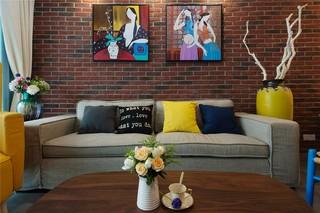 80㎡混搭风格沙发背景墙装修效果图