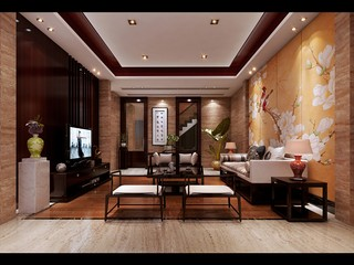 现代中式风别墅客厅装修效果图