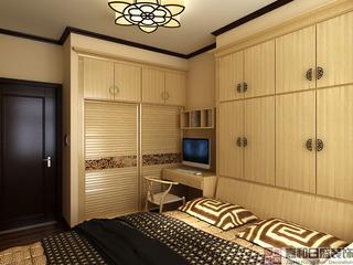 中式风格三居卧室装修设计图