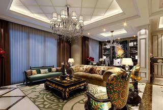 豪华古典欧式风格客厅吊顶装修效果图