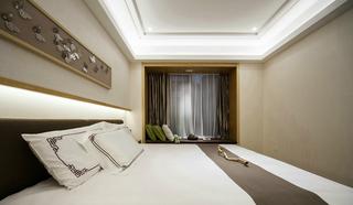 现代中式风三居卧室飘窗装修效果图