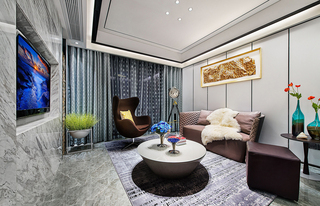 现代简约沙发背景墙装修效果图