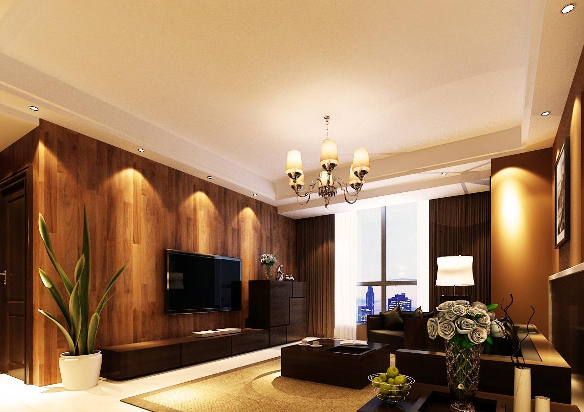 120平后现代风格电视背景墙装修效果图