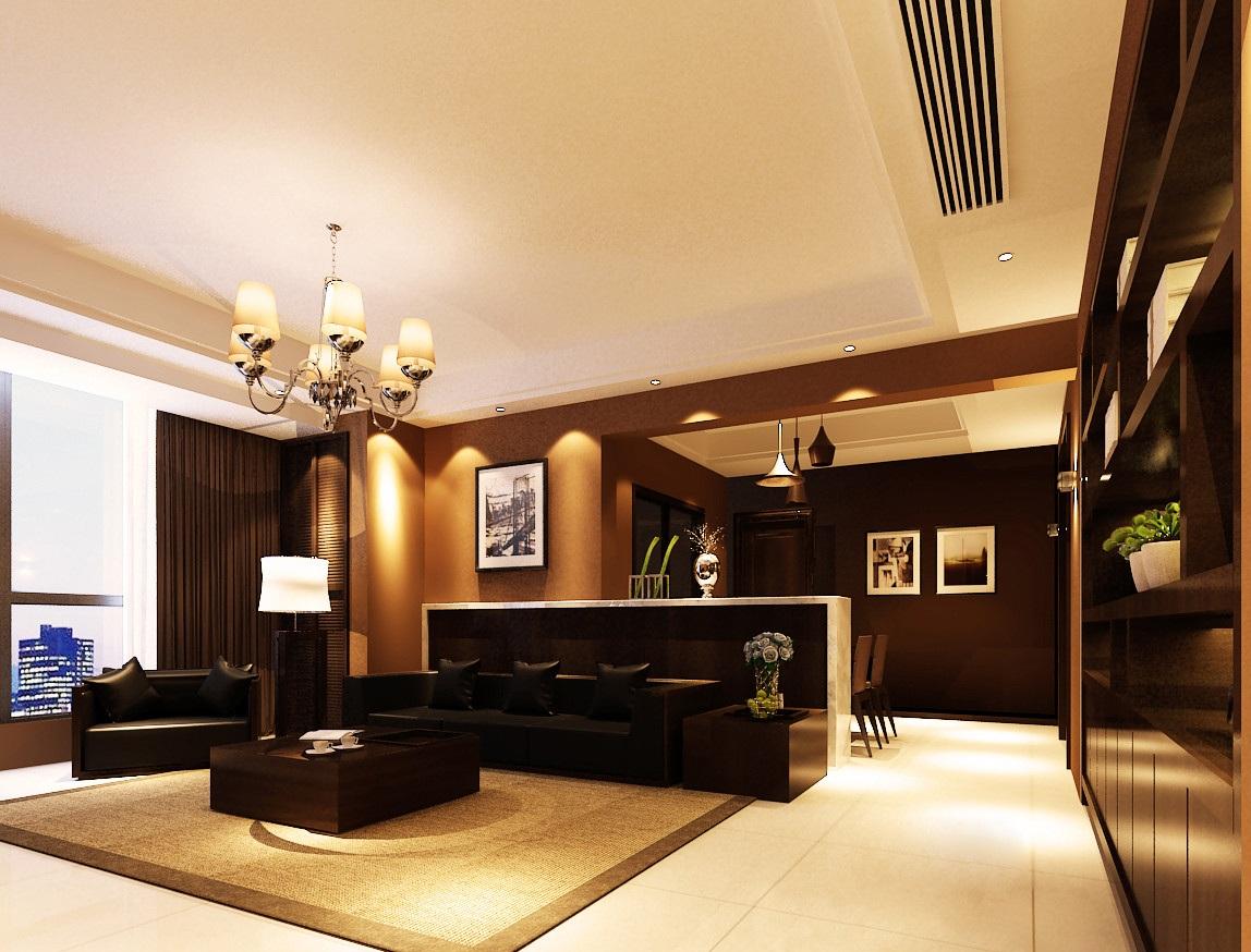 120平后现代风格客厅吊顶装修效果图