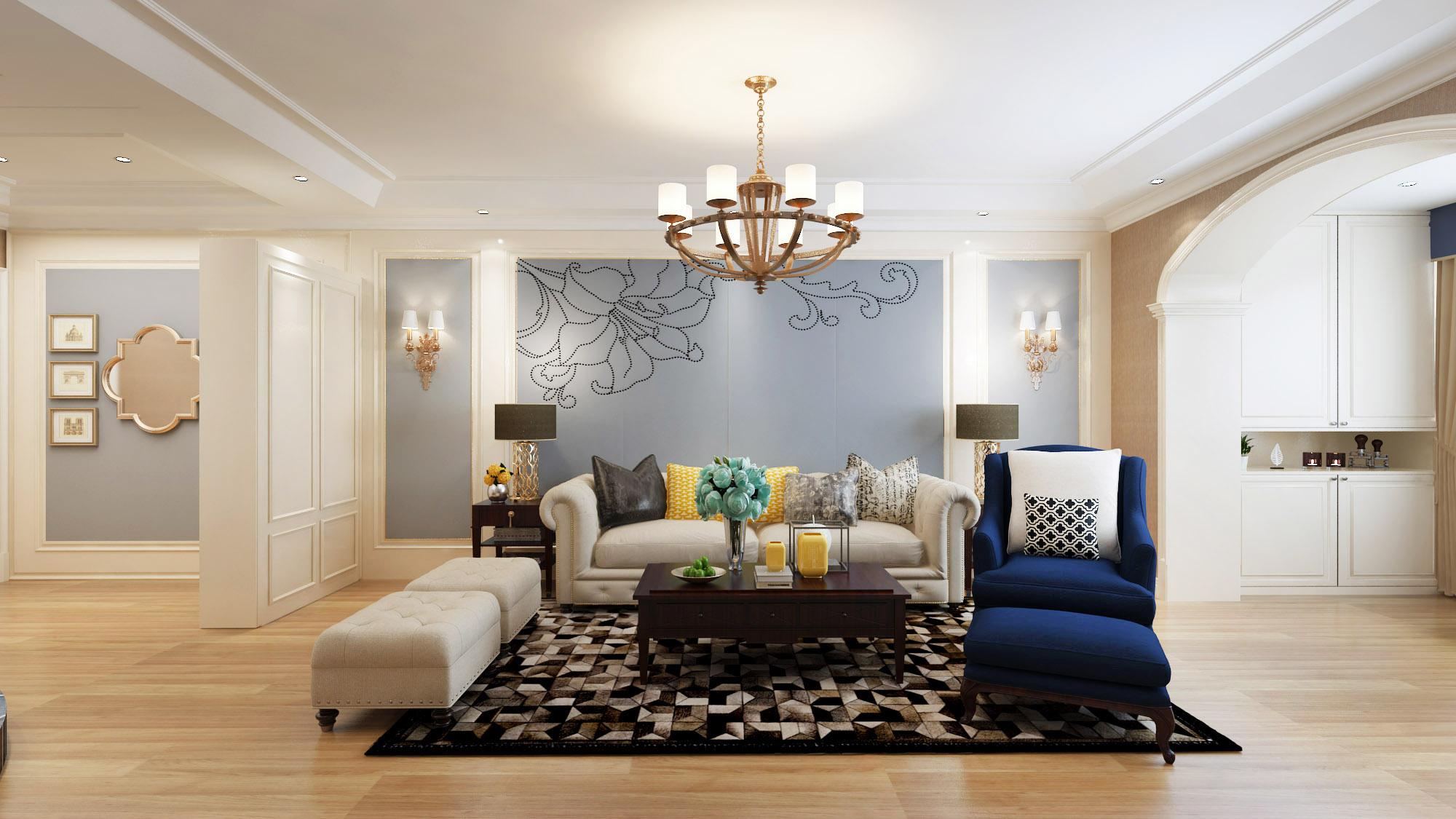 100㎡简欧风格沙发背景墙装修效果图