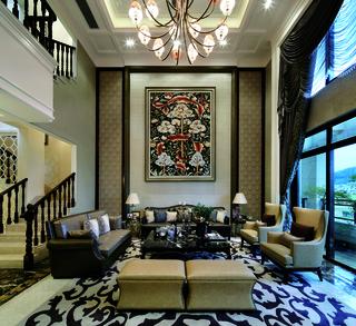 新古典别墅客厅装修设计效果图
