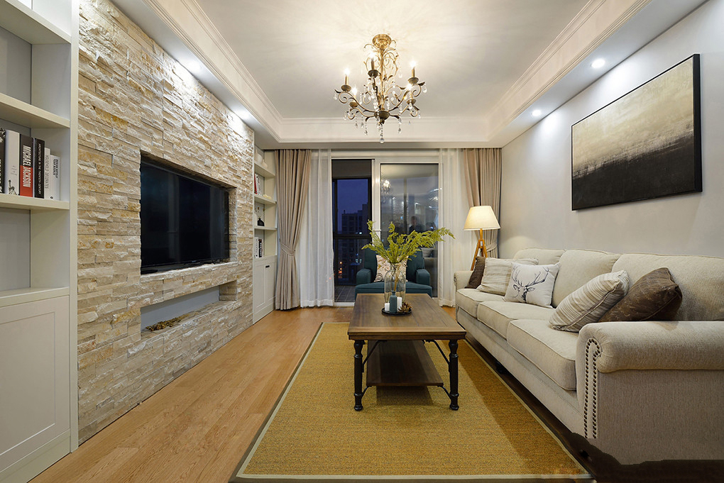 简约美式风格客厅装修效果图