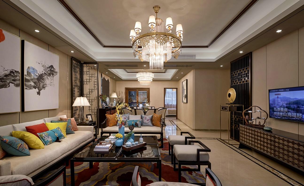 奢华新中式风格客厅装修效果图